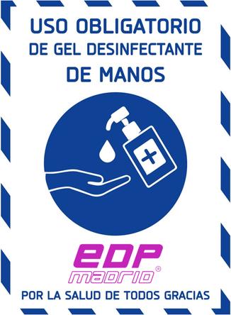 Uso obligatorio de gel desinfectante de manos